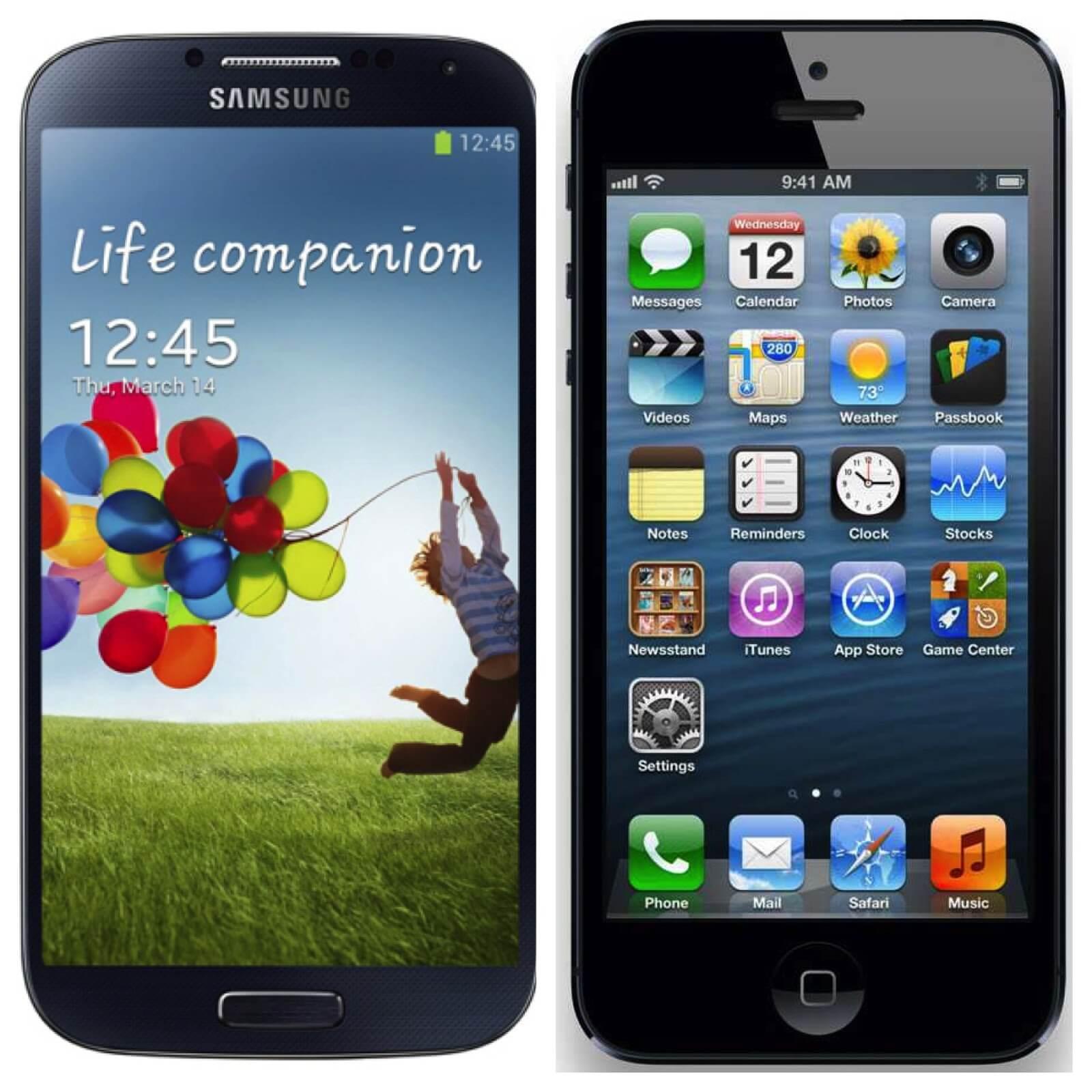 samsung galaxy s4 vs apple iphone 5